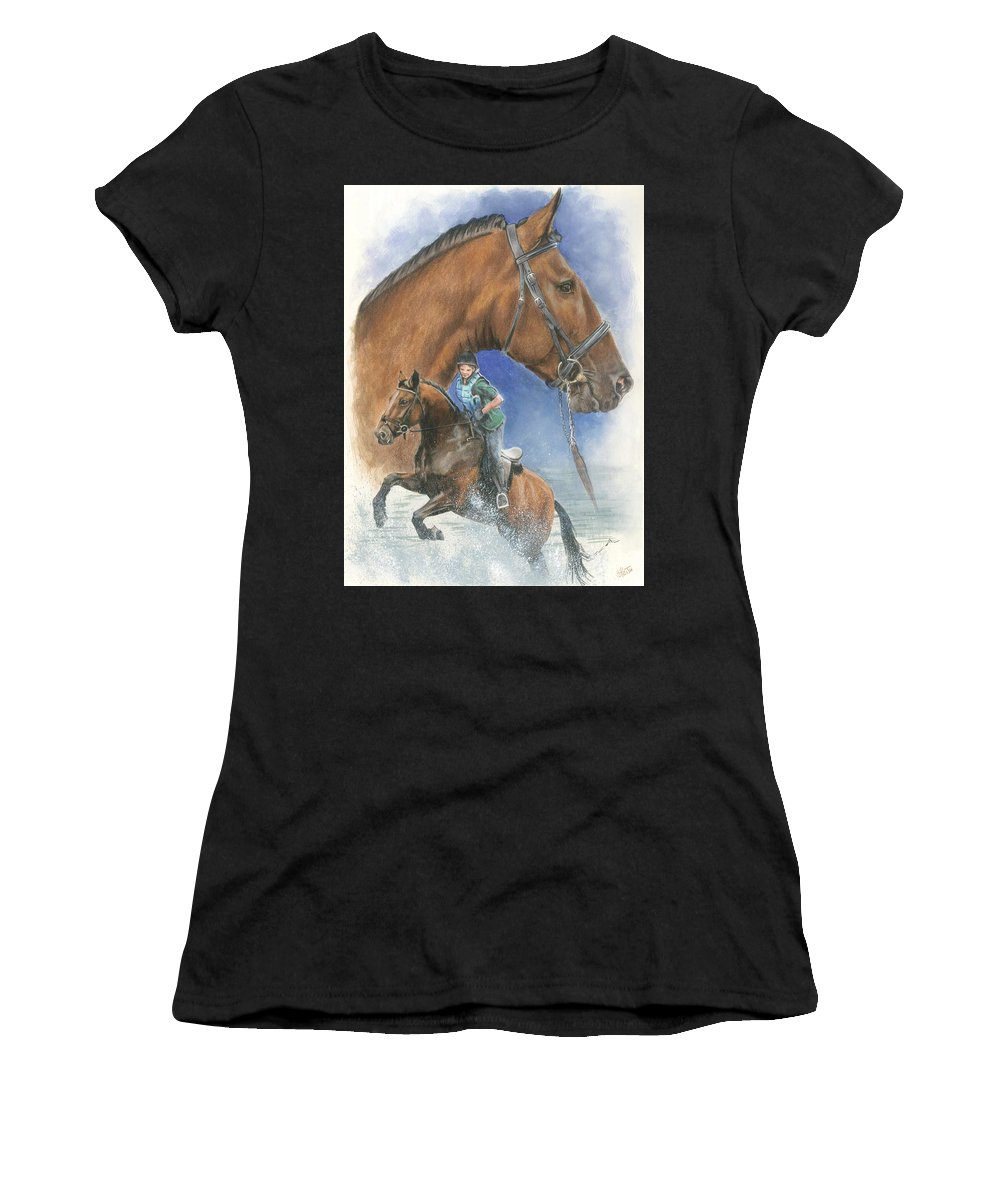 Hunter Jumper Women's T-Shirt (Athletic Fit) featuring the mixed media Cleveland Bay by Barbara Keith