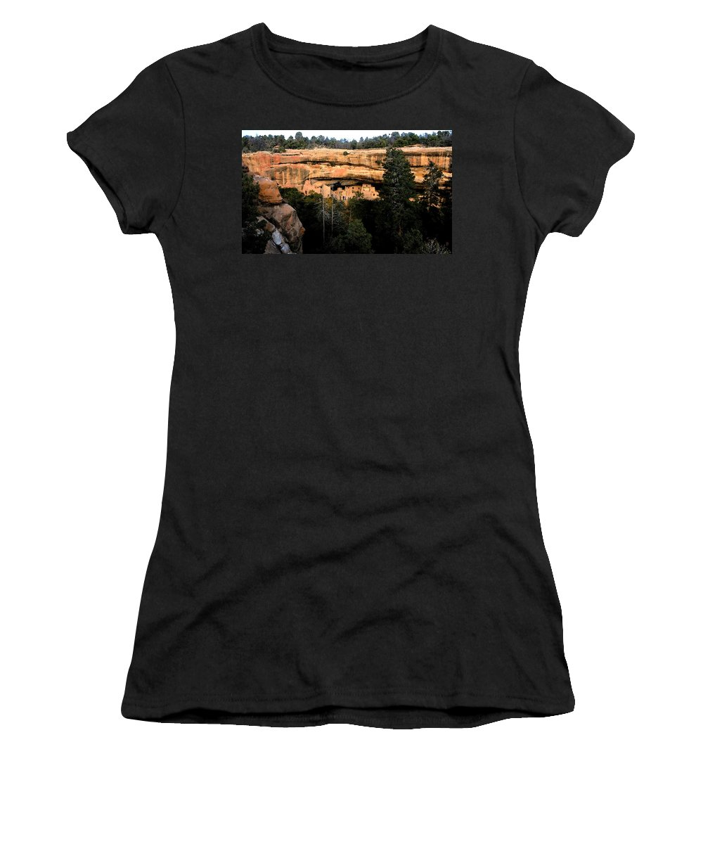 Cliff Dwellings Women's T-Shirt (Athletic Fit) featuring the painting Cliff Dwelling by David Lee Thompson