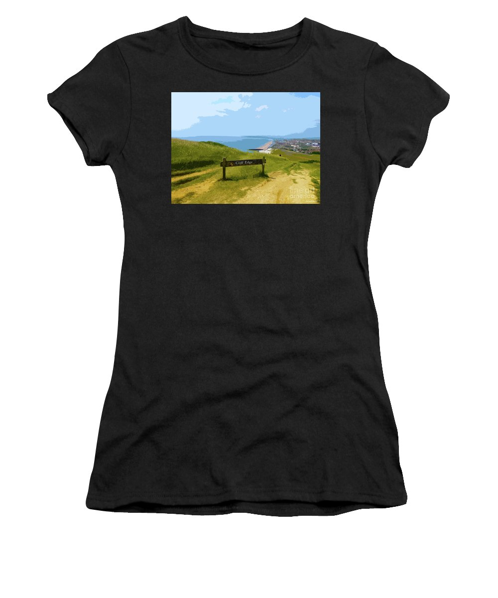 Digital Art Women's T-Shirt (Athletic Fit) featuring the digital art Cliff Edge Photoart by Francesca Mackenney