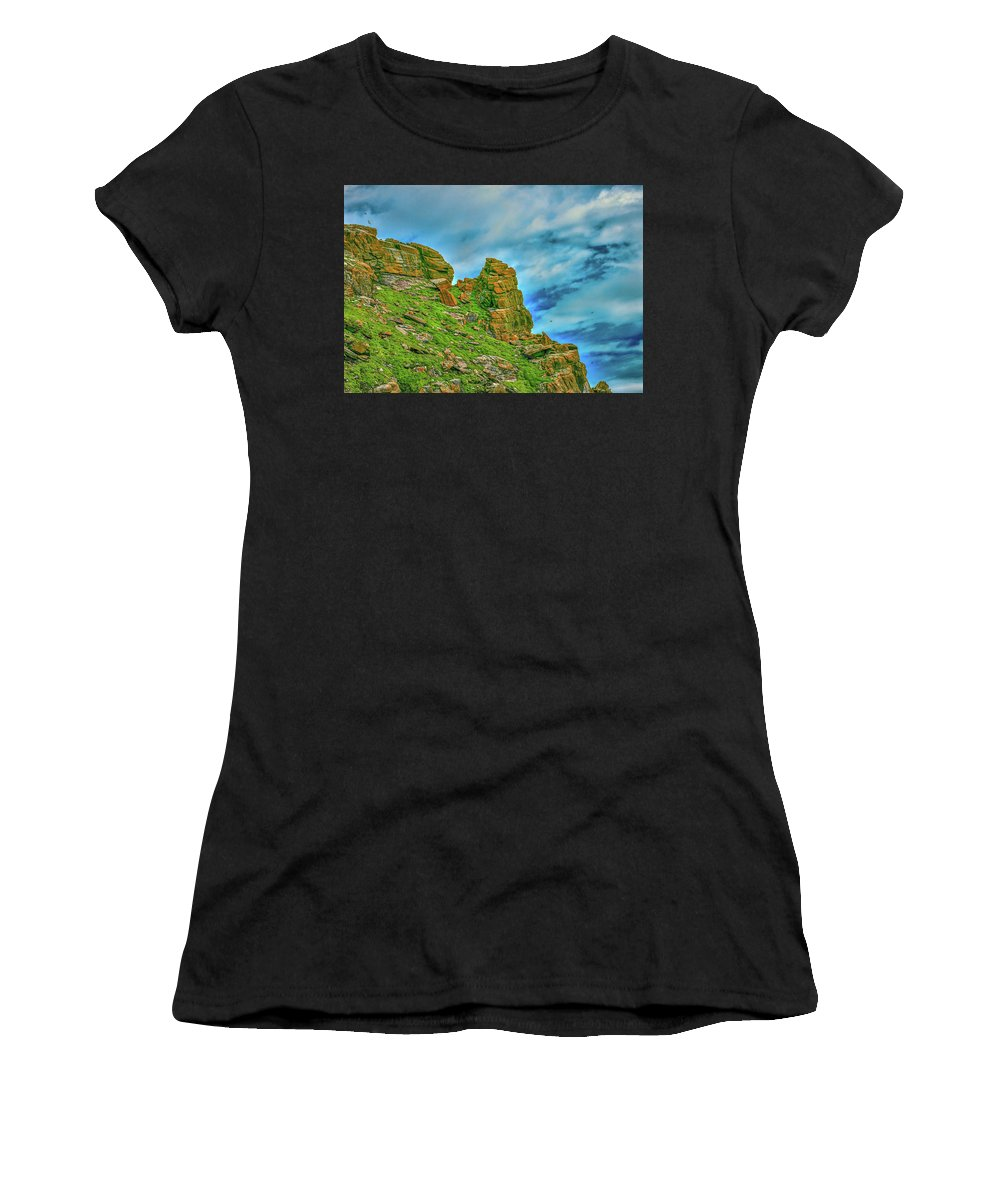 Cliff Women's T-Shirt (Athletic Fit) featuring the photograph Cliff #h0 by Leif Sohlman