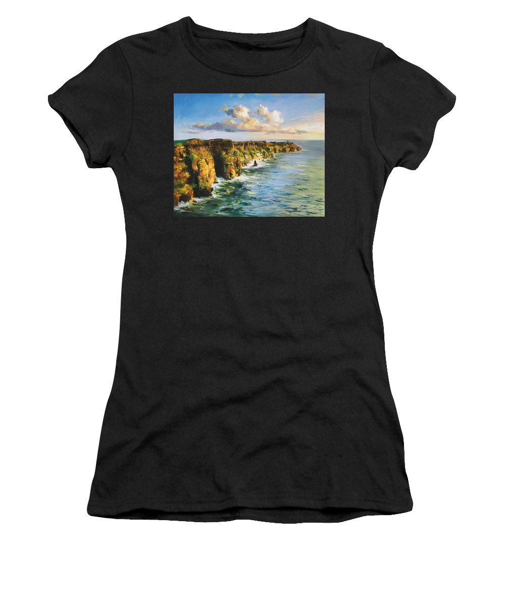 Cliffs Mohar Women's T-Shirt (Athletic Fit) featuring the painting Cliffs Of Mohar 2 by Conor McGuire