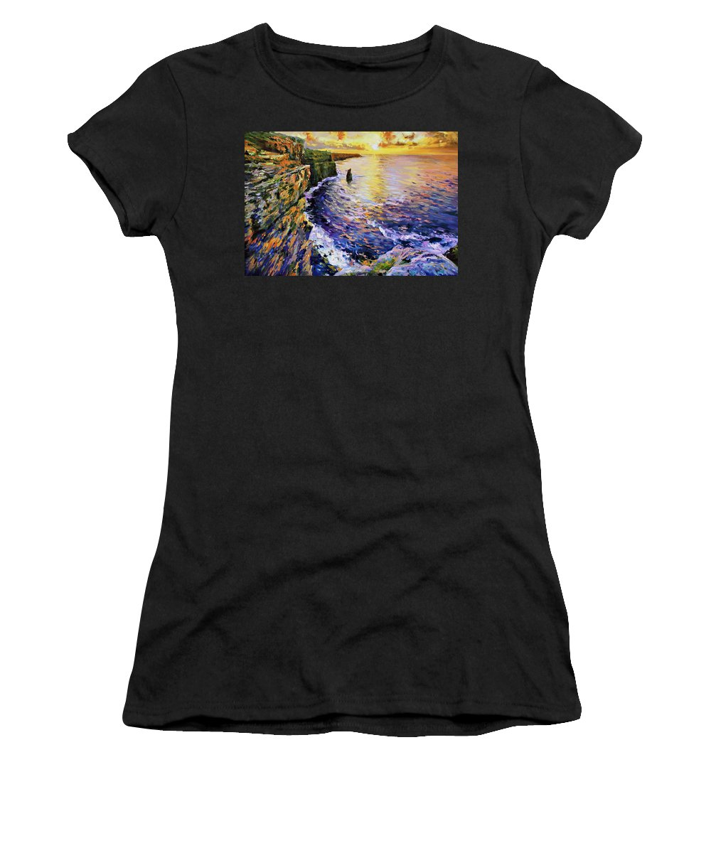 Cliffs Of Moher Women's T-Shirt (Athletic Fit) featuring the painting Cliffs Of Moher At Sunset by Conor McGuire