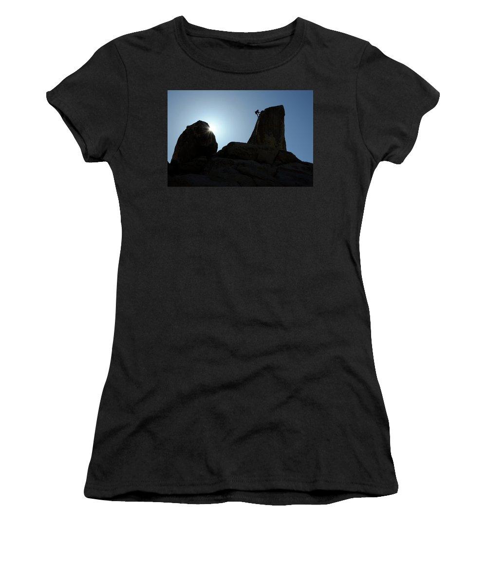 Joshua Tree National Park Women's T-Shirt featuring the photograph Climbing In Joshua Tree by Bob Christopher