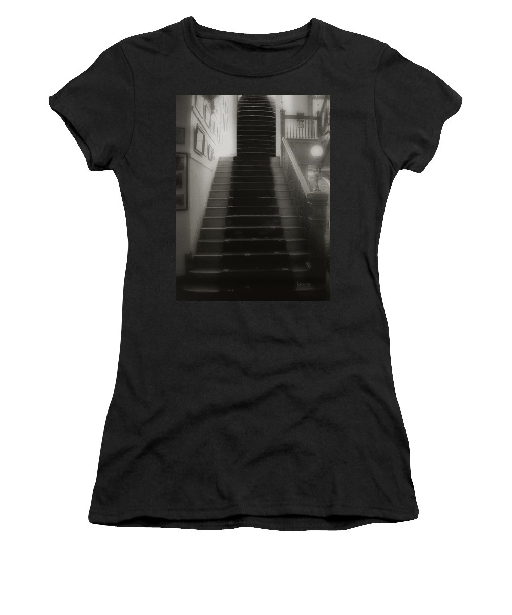 Black And White Women's T-Shirt (Athletic Fit) featuring the photograph Climbing Toward The Unknown by RC DeWinter