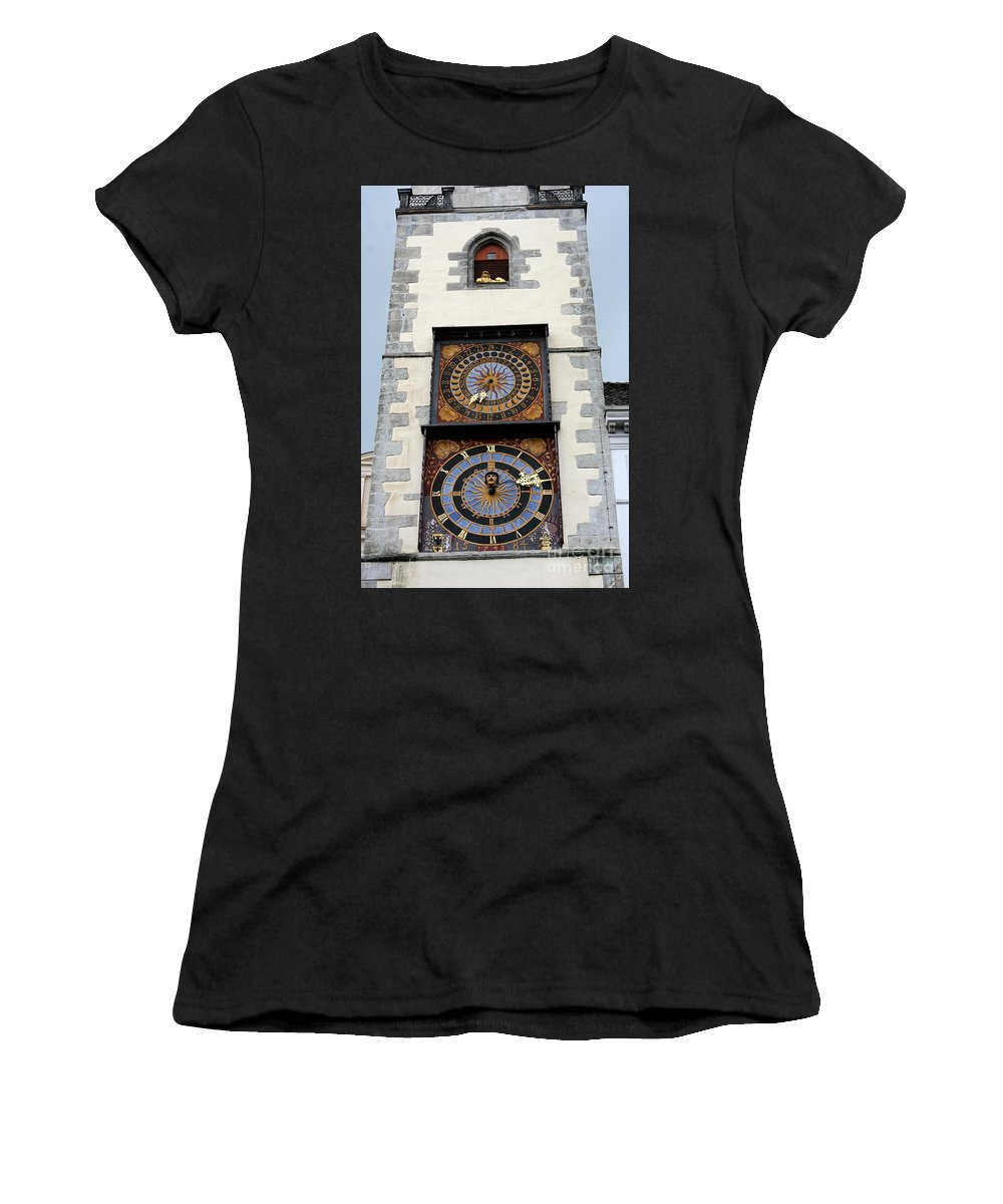 Clock Women's T-Shirt (Athletic Fit) featuring the photograph Clock Tower by Christiane Schulze Art And Photography