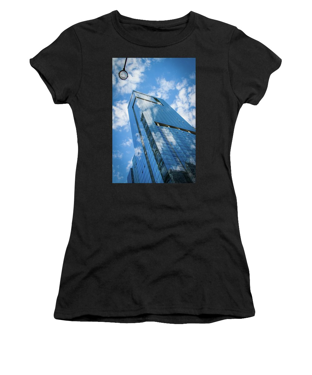 Chicago Women's T-Shirt (Athletic Fit) featuring the photograph Cloud Reflections by Mike Burgquist