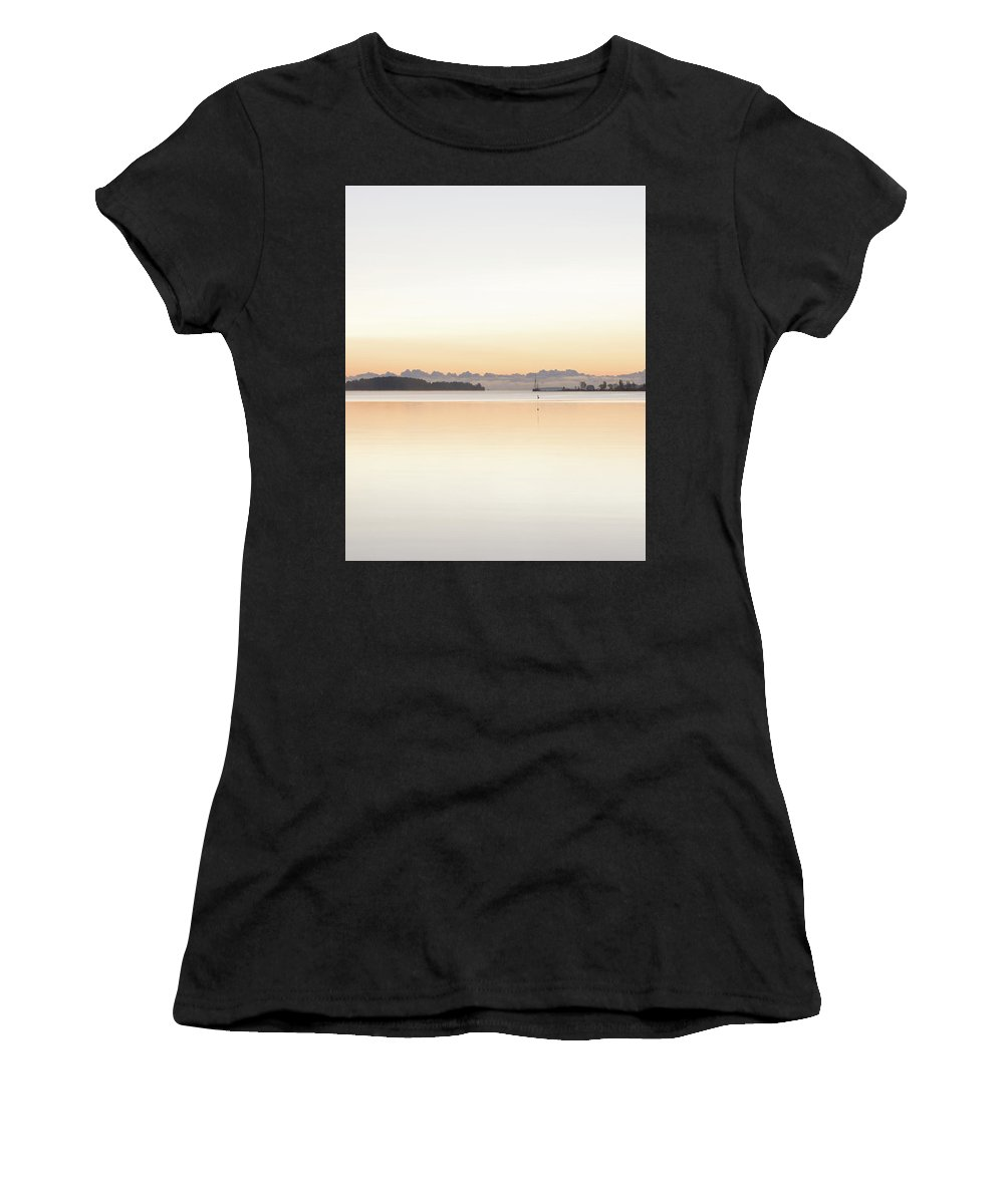 Sunrise Women's T-Shirt (Athletic Fit) featuring the digital art Clouds For Mountains by Henrik Kuosa
