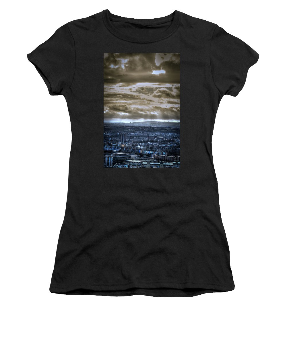 Architecture Women's T-Shirt (Athletic Fit) featuring the photograph Clouds Over Bristol Hdr Split Toning by Jacek Wojnarowski