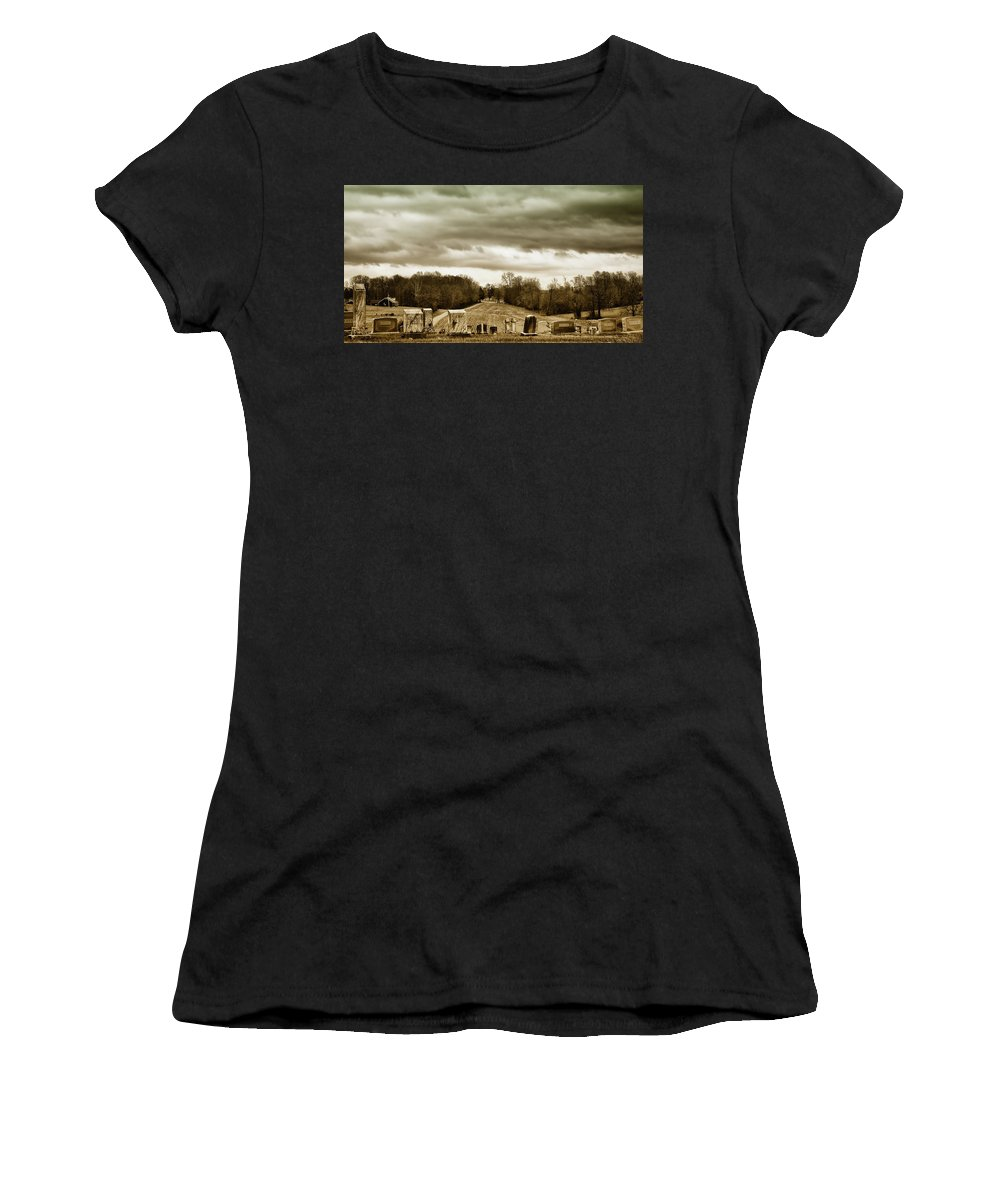 Sky Women's T-Shirt (Athletic Fit) featuring the photograph Clouds Over Cemetery by Michael Vines