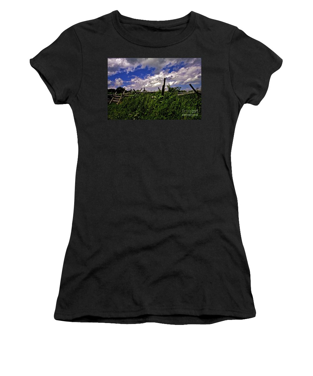 Field Women's T-Shirt (Athletic Fit) featuring the photograph Clouds Over Gettysburg by Madeline Ellis
