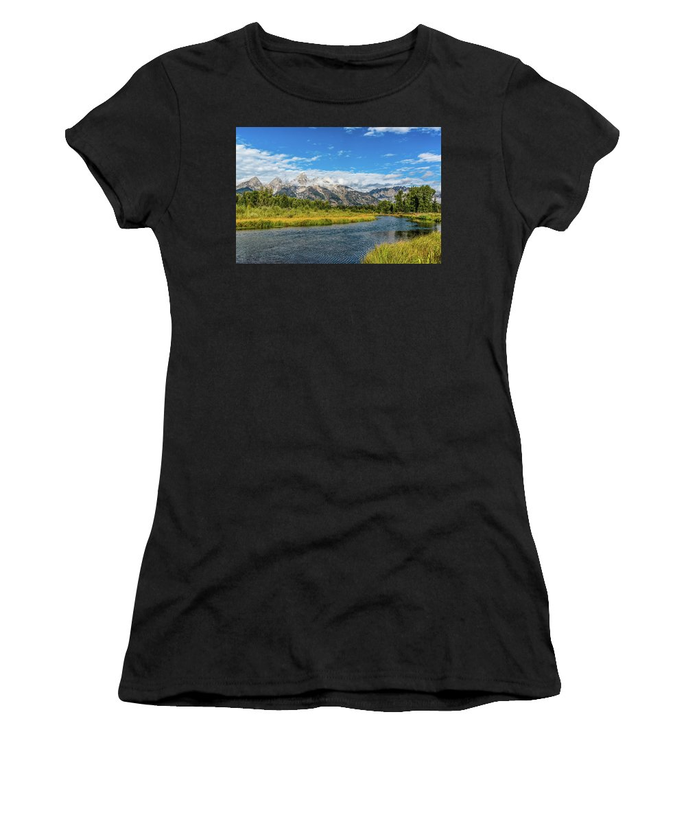 Clouds Women's T-Shirt (Athletic Fit) featuring the photograph Clouds Over The Grand Tetons by Yeates Photography