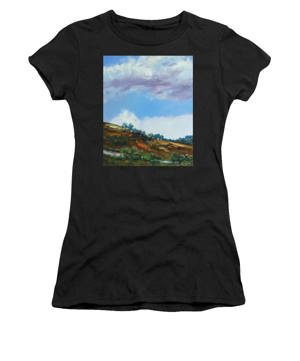 Sky Women's T-Shirt (Athletic Fit) featuring the painting Clouds by Rick Nederlof