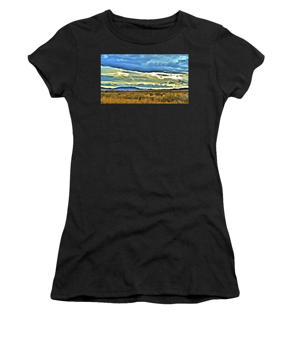 Cloudy Women's T-Shirt (Athletic Fit) featuring the pyrography Cloudy Sunday Drive by Mandy Anderson