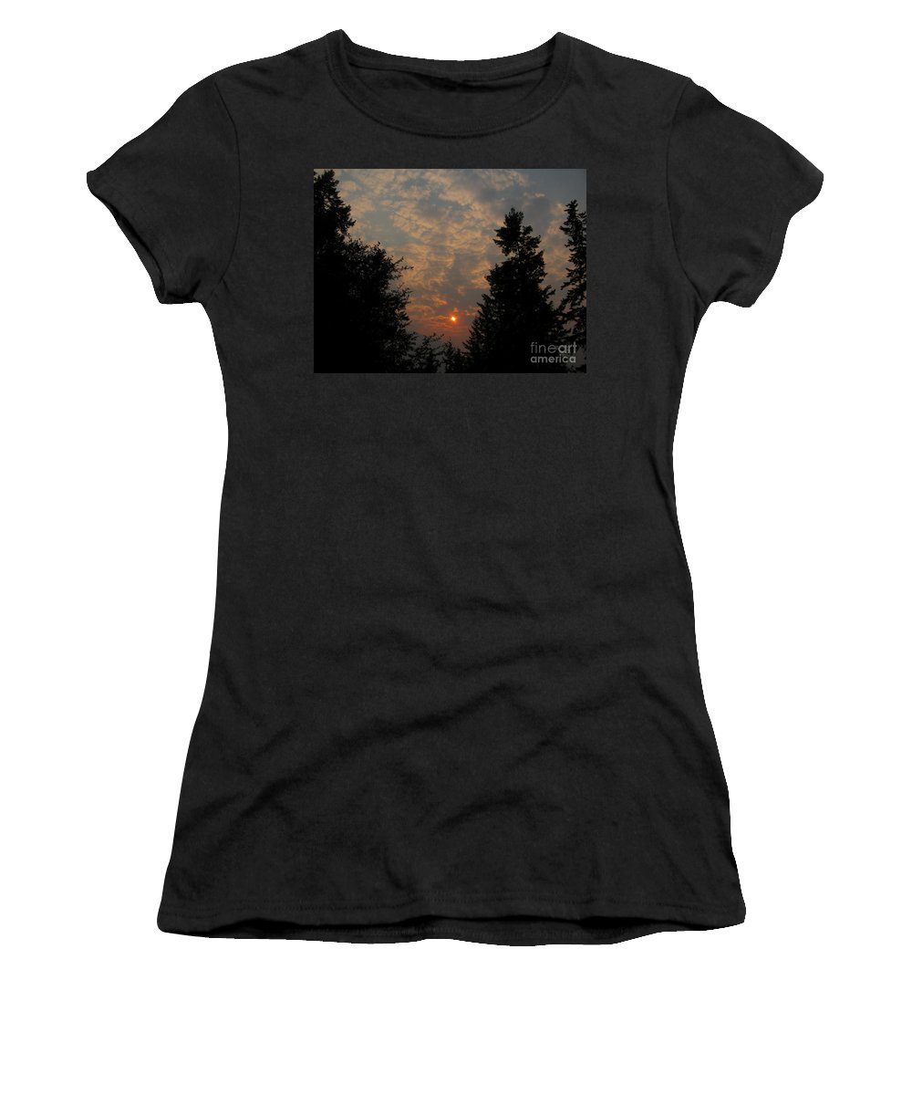 Sunset Women's T-Shirt (Athletic Fit) featuring the photograph Cloudy Sunset by Leone Lund