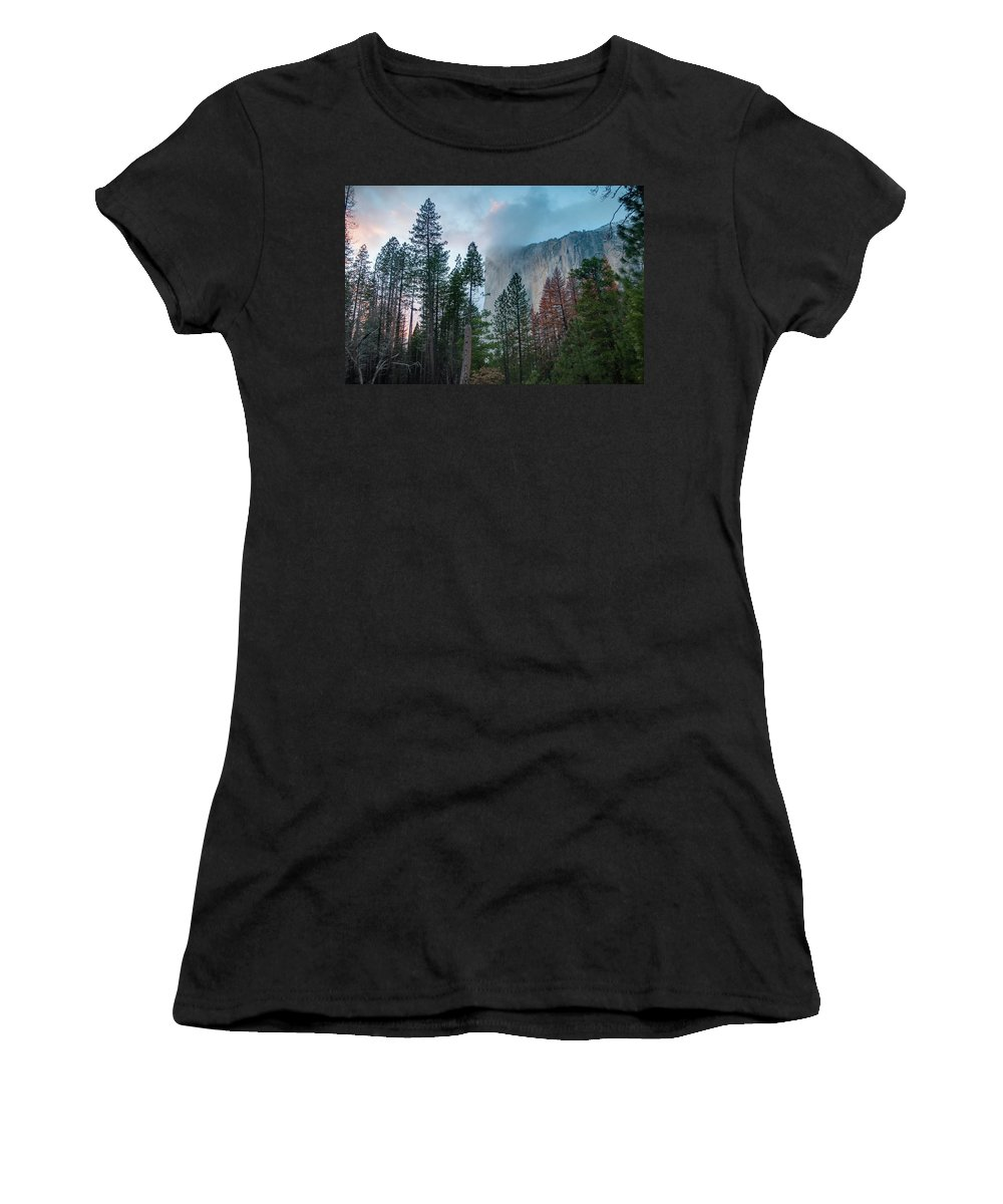 �2017conniecooper-edwards Women's T-Shirt (Athletic Fit) featuring the photograph Cloudy Sunset On El Capitan by Connie Cooper-Edwards