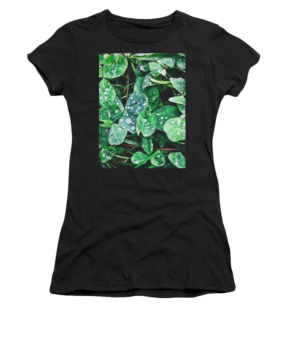 Clover Women's T-Shirt (Athletic Fit) featuring the photograph Clover Drops by Brad Hodges