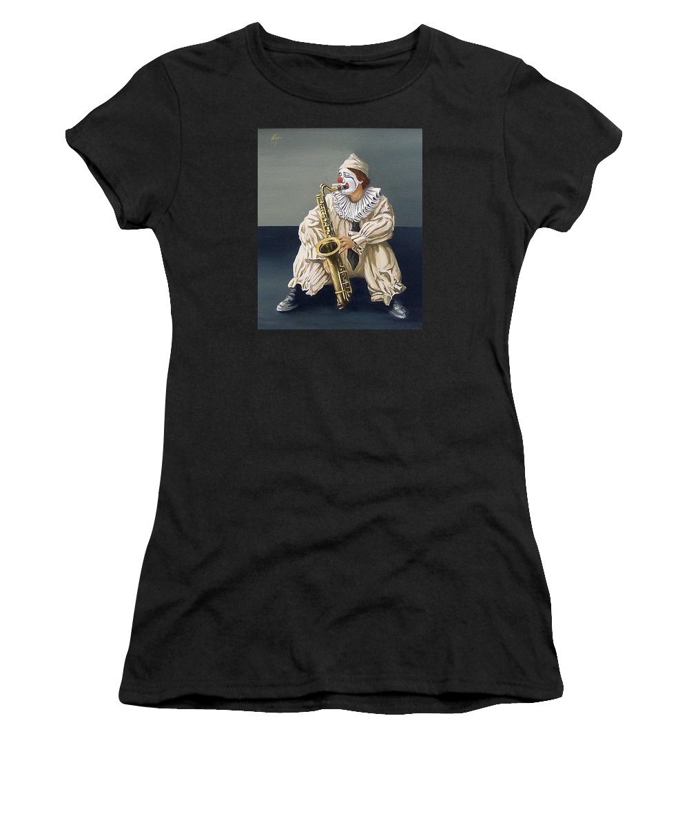 Clown Figurative Portrait People Women's T-Shirt (Athletic Fit) featuring the painting Clown by Natalia Tejera