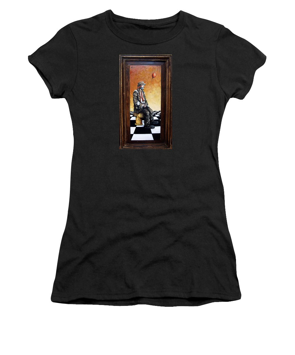 Clown Man Figurative Figure Human Surrealism Chess Emotion Women's T-Shirt (Athletic Fit) featuring the painting Clown S Melancholy by Natalia Tejera