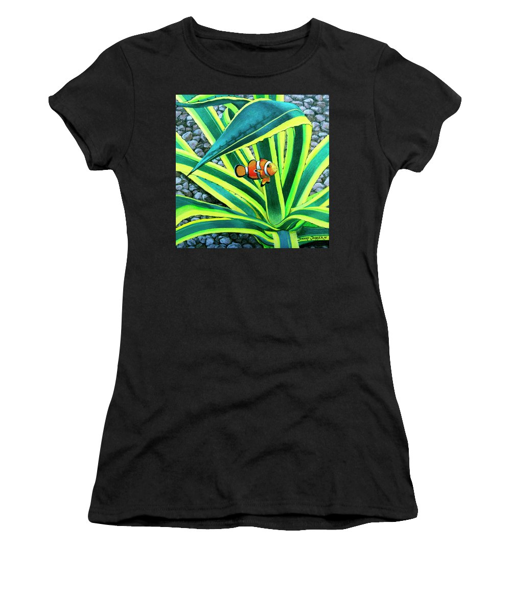 Fish Women's T-Shirt (Athletic Fit) featuring the painting Clownfish by Snake Jagger