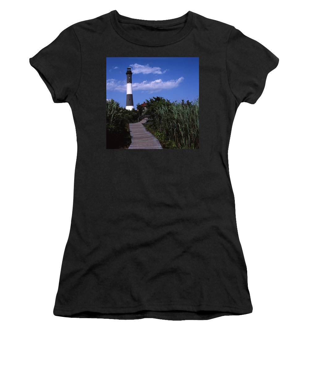 Landscape Lighthouse Fire Island Women's T-Shirt (Athletic Fit) featuring the photograph Cnrf0702 by Henry Butz