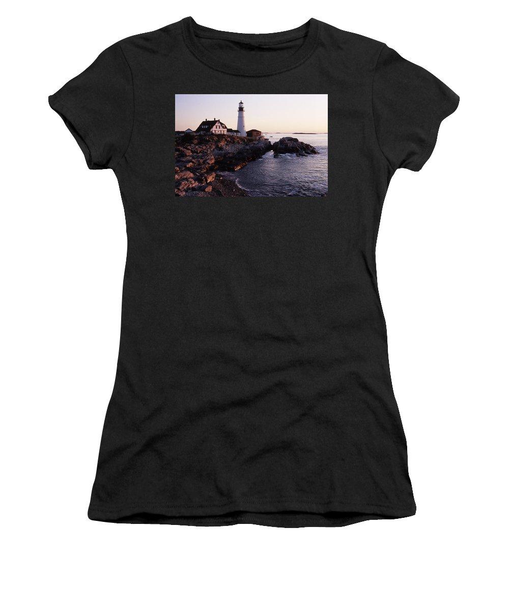 Landscape Lighthouse Nautical New England Portland Head Light Cape Elizabeth Women's T-Shirt (Athletic Fit) featuring the photograph Cnrf0905 by Henry Butz