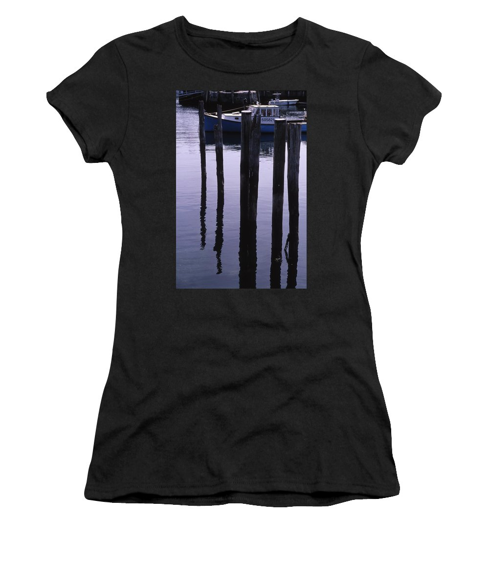 Landscape New England Fishing Boat Nautical Coast Women's T-Shirt (Athletic Fit) featuring the photograph Cnrf0907 by Henry Butz