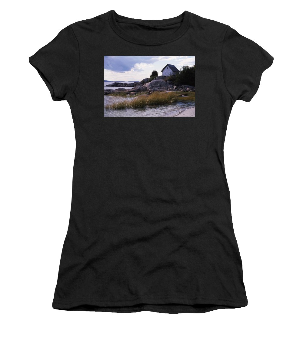 Landscape Beach Storm Women's T-Shirt (Athletic Fit) featuring the photograph Cnrf0909 by Henry Butz