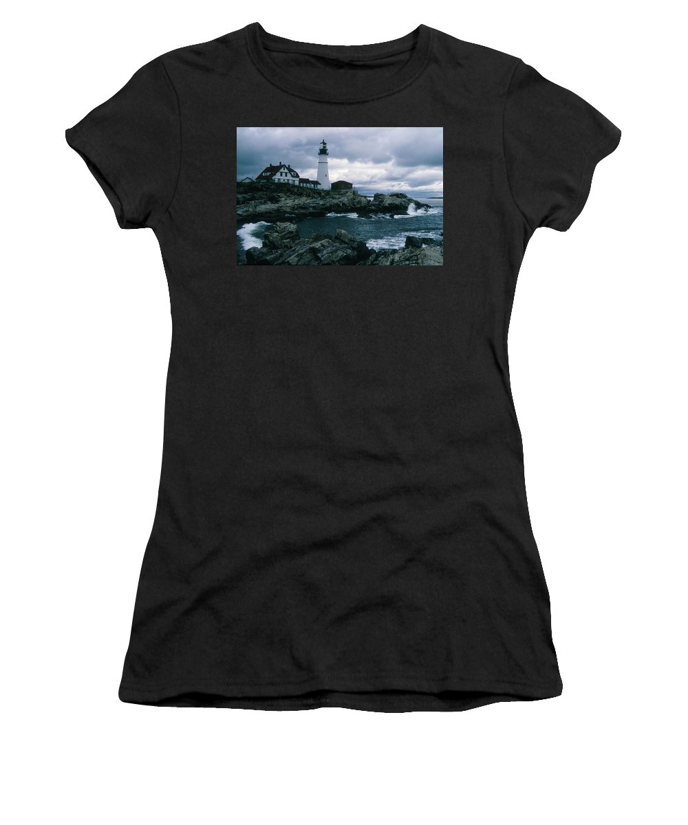 Landscape New England Lighthouse Nautical Storm Coast Women's T-Shirt (Athletic Fit) featuring the photograph Cnrg0601 by Henry Butz