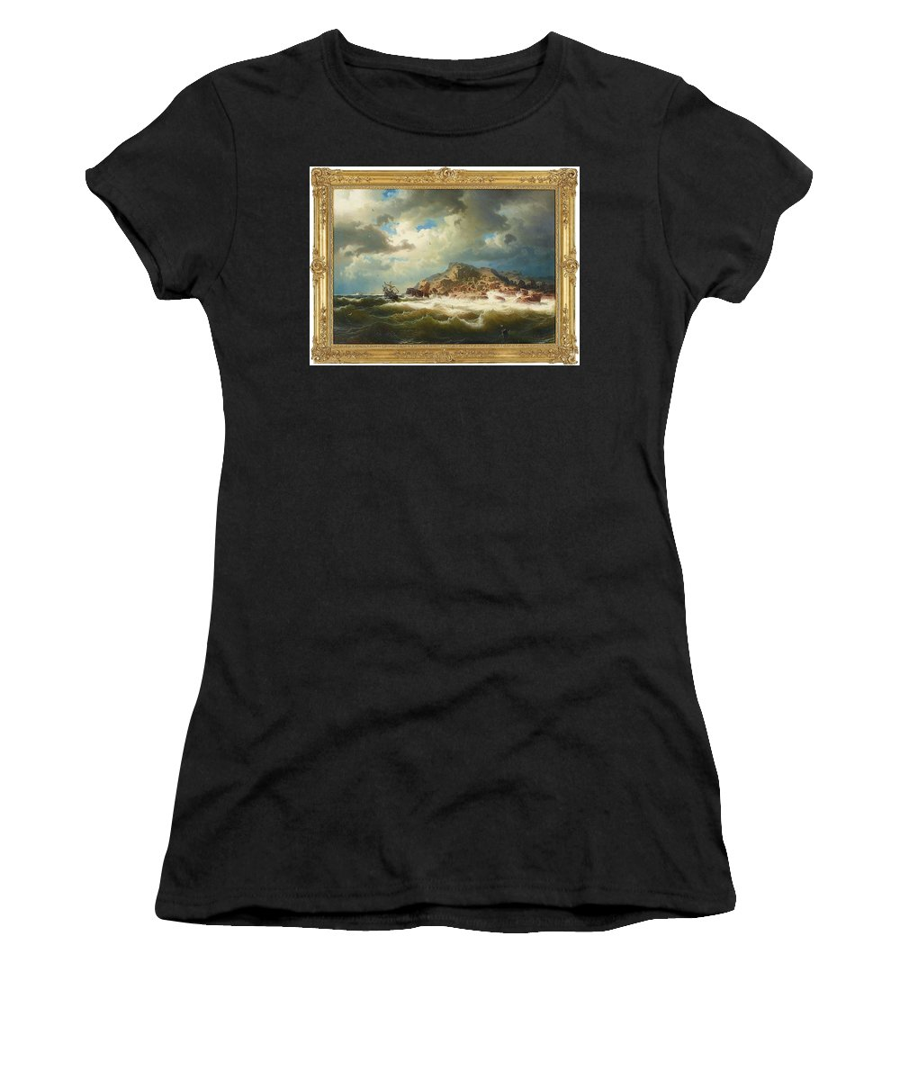 Marcus Larson 1825-1864 Bränningar And Shipwrecked On The Coast Of Bohuslän Women's T-Shirt (Athletic Fit) featuring the painting coast of Bohuslan by Marcus Larson