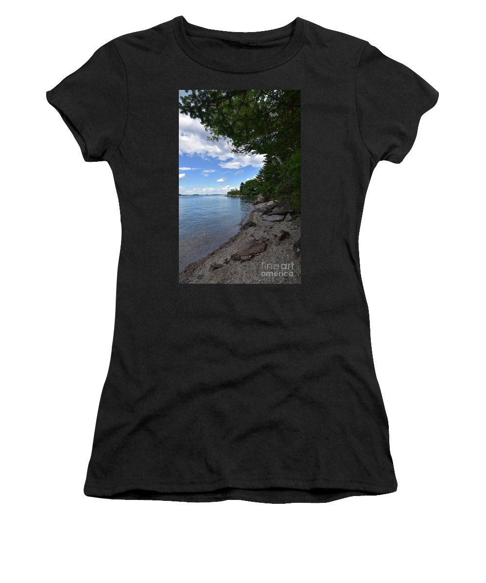 Casco-bay Women's T-Shirt (Athletic Fit) featuring the photograph Coastal Maine's Rocky Shore On A Beautiful Summer Day by DejaVu Designs