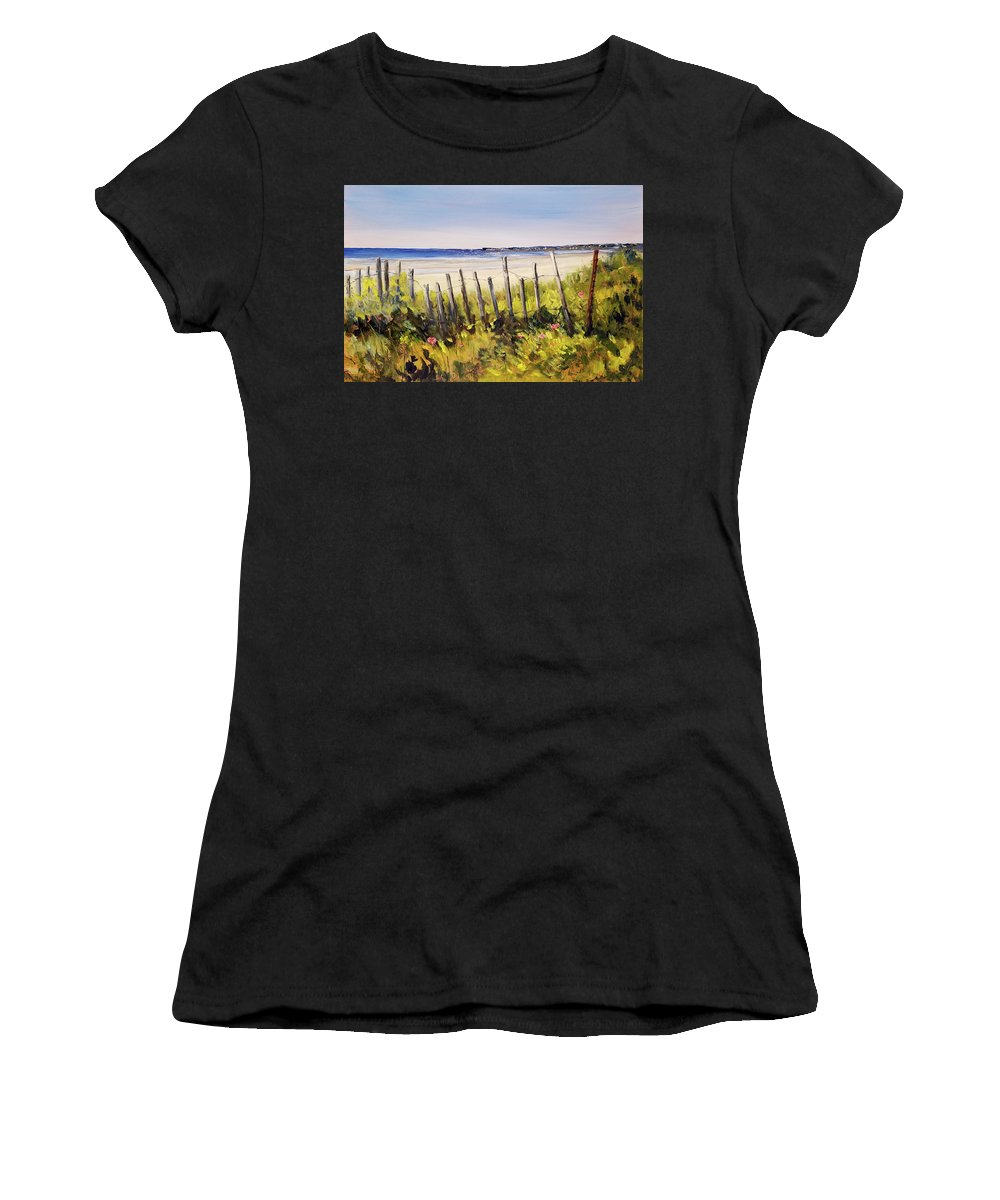 Fence Women's T-Shirt (Athletic Fit) featuring the painting Coastal Morning by Susan Hanna