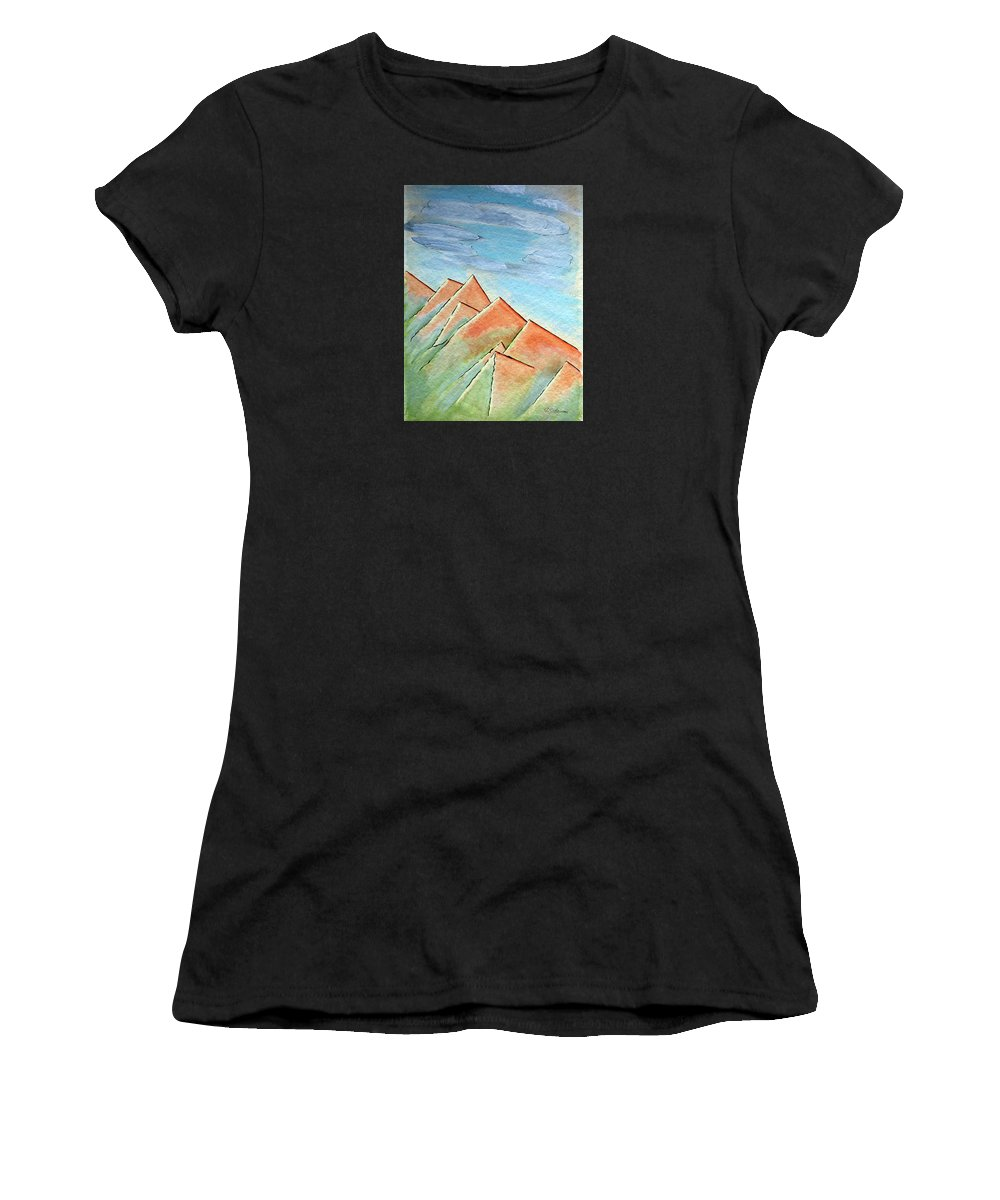 Painting Women's T-Shirt featuring the painting Coastal Range by J R Seymour