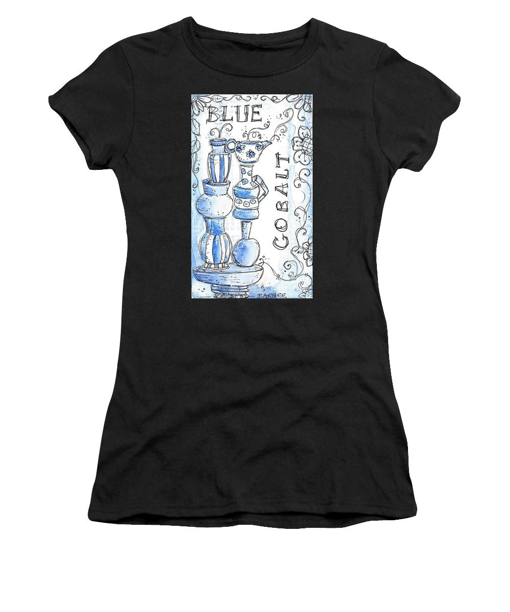 Pen Women's T-Shirt (Athletic Fit) featuring the drawing Cobalt Blue by Barbara Hauenstein