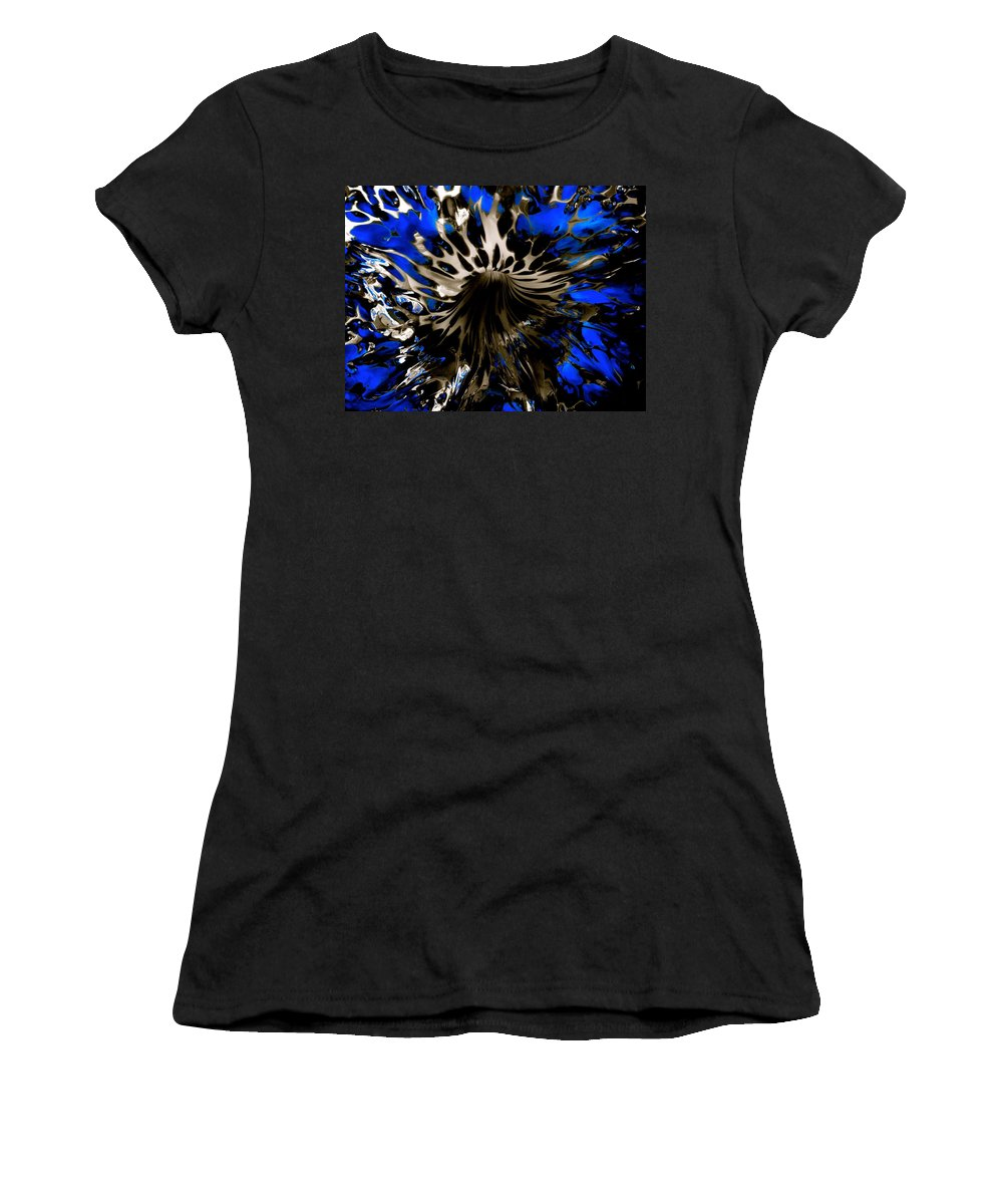 Starved Rock Hot Glass Women's T-Shirt (Athletic Fit) featuring the photograph Cobalt Blue Wormhole by Tim G Ross
