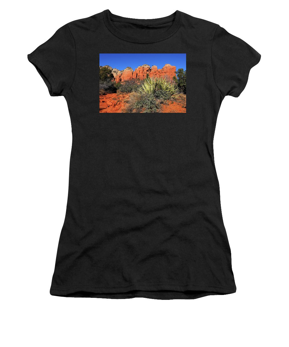 Arizona Women's T-Shirt (Athletic Fit) featuring the photograph Coffeepot And Cactus Az by Lucio Cicuto