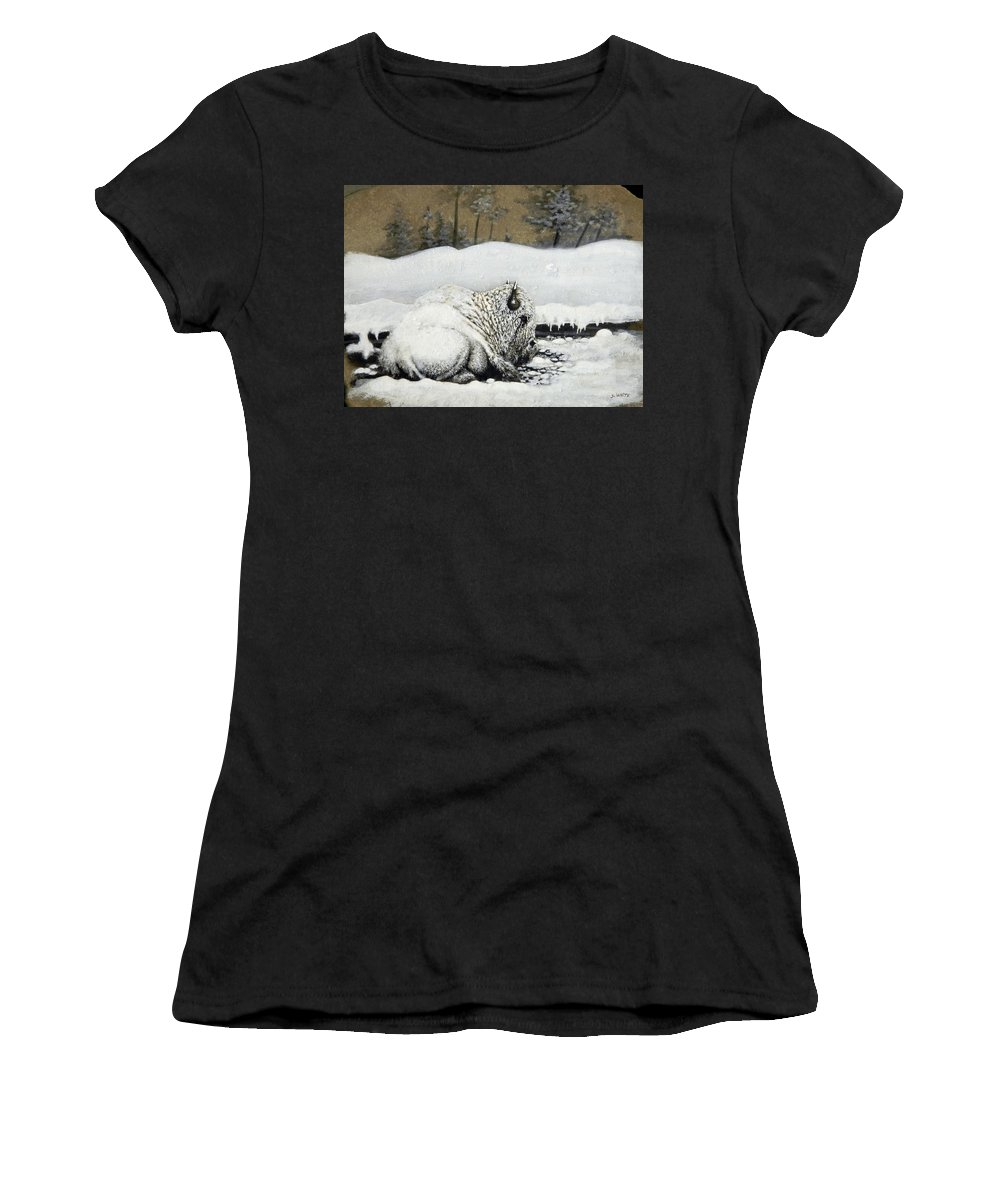 Animals Women's T-Shirt featuring the painting Cold And Tired by Stan White