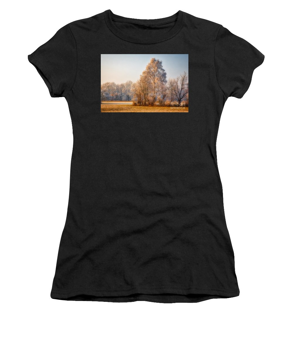 Cold Women's T-Shirt (Athletic Fit) featuring the photograph Cold Winter Evening In The Valley by Hanns-Peter Eisold