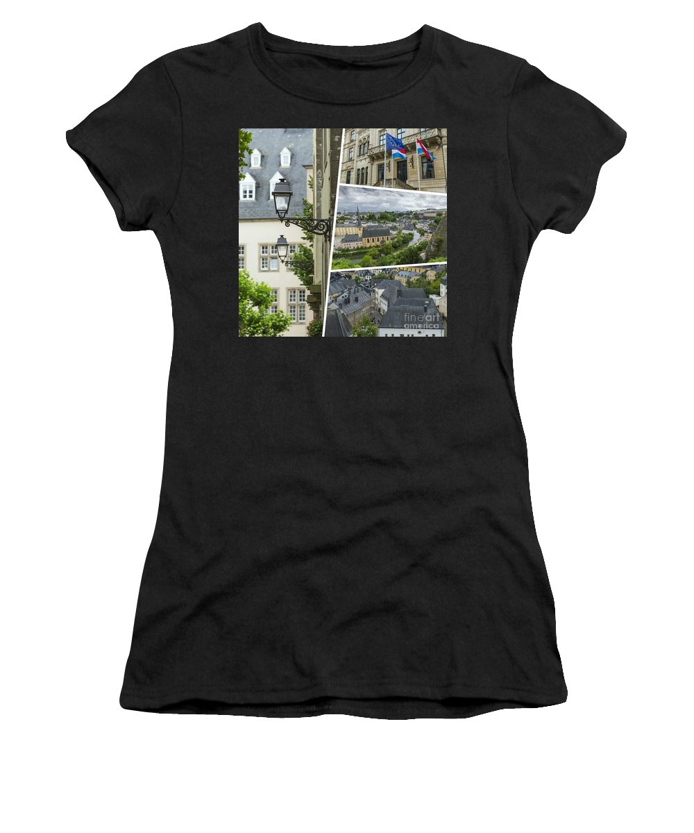 Luxembourg Women's T-Shirt (Athletic Fit) featuring the photograph Collage Of Luxembourg Images by Mariusz Prusaczyk