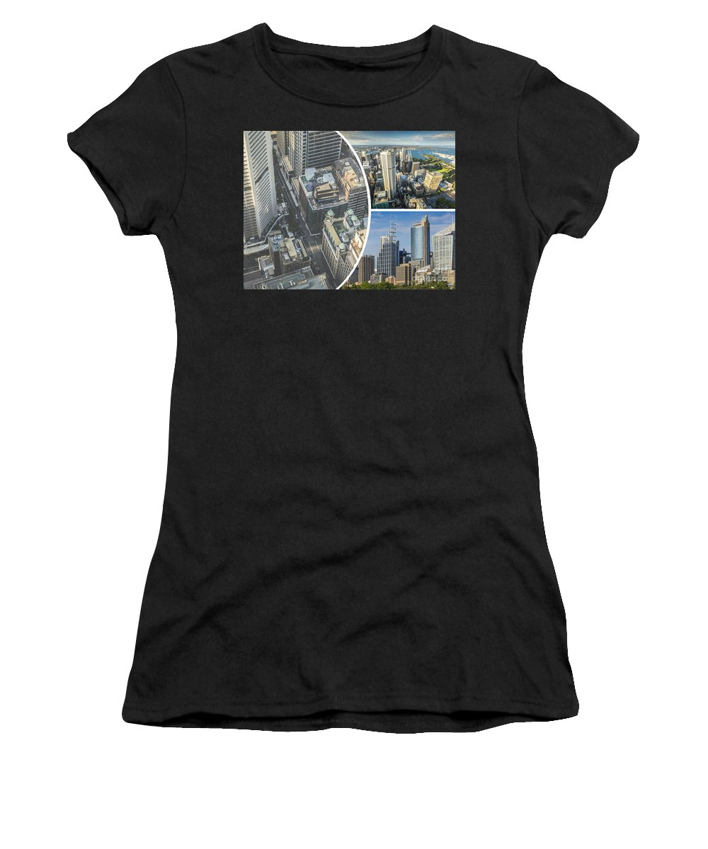 Sydney Women's T-Shirt (Athletic Fit) featuring the photograph Collage Of Sydeny by Mariusz Prusaczyk