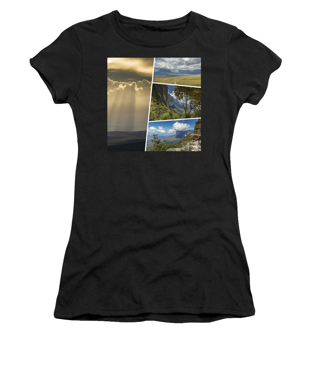 Outdoor Women's T-Shirt (Athletic Fit) featuring the photograph Collage Of Table Mountain Roraima by Mariusz Prusaczyk