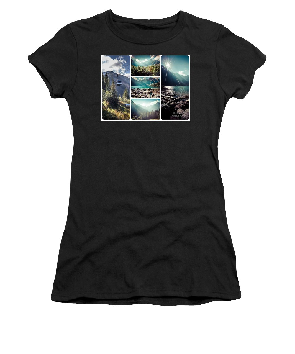 Tatra Women's T-Shirt (Athletic Fit) featuring the photograph Collage Of Tatra Mountains by Mariusz Prusaczyk