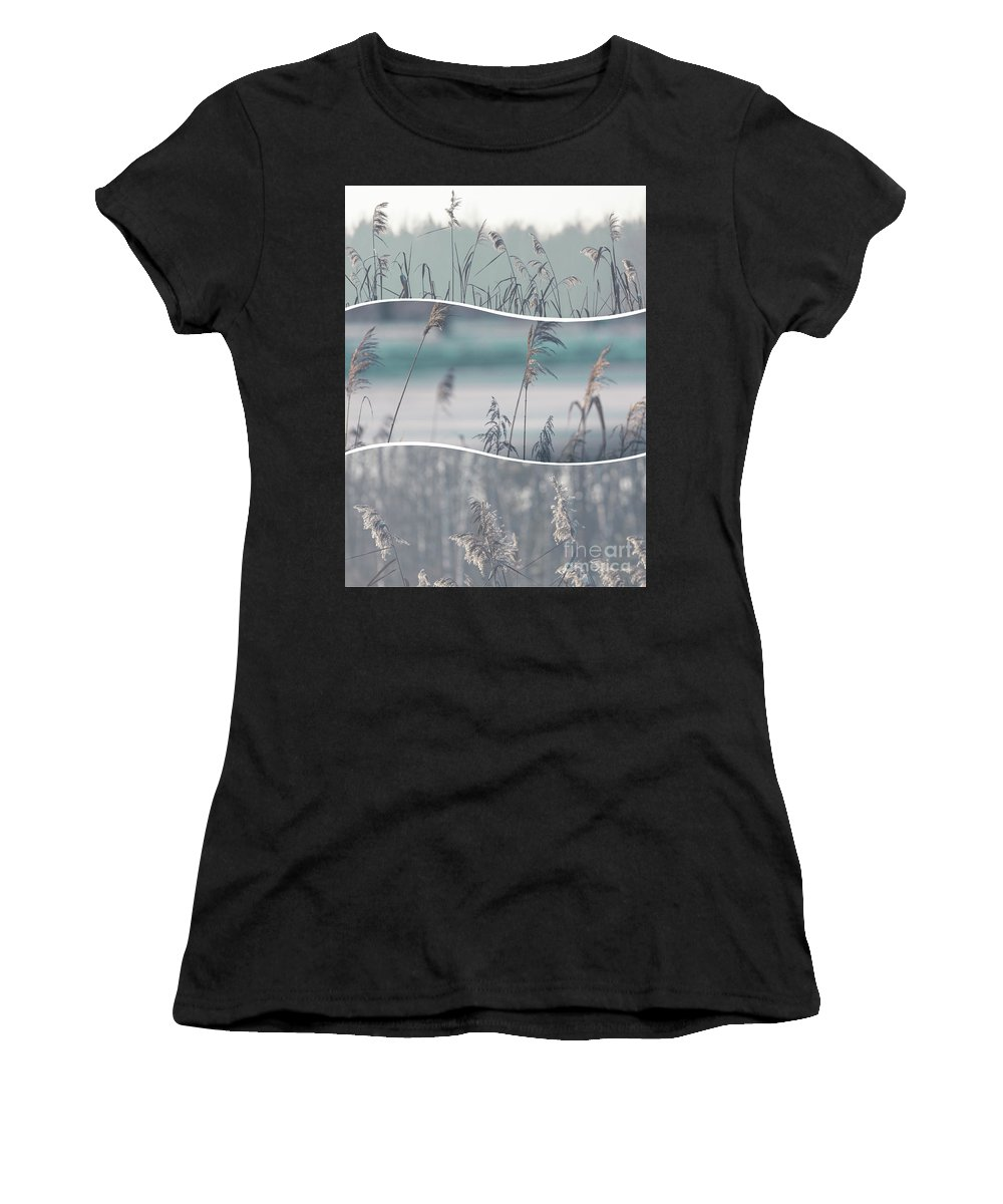 Grass Women's T-Shirt (Athletic Fit) featuring the photograph Collage Of Winter Time In Poland. by Mariusz Prusaczyk