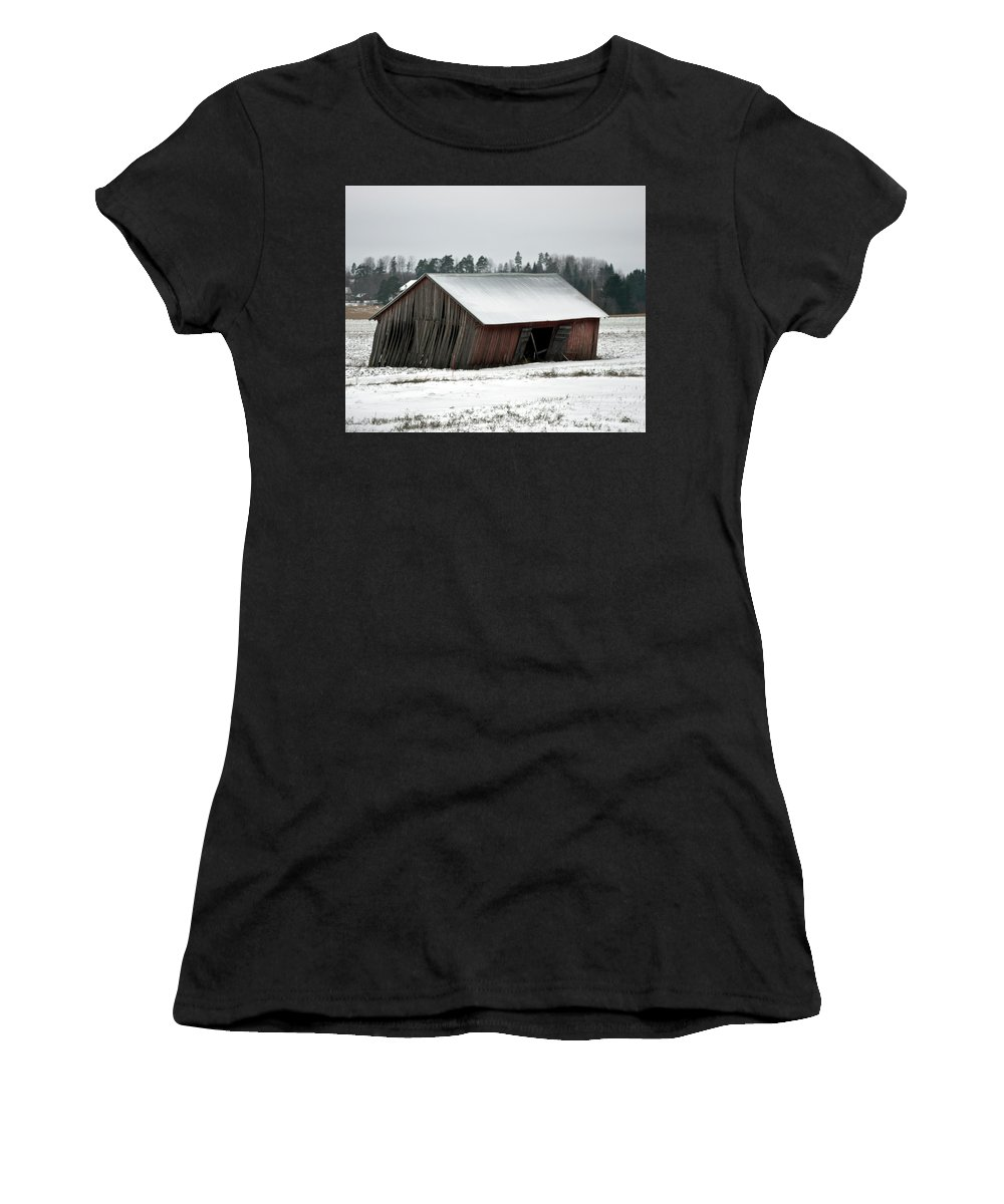 Collapsing Women's T-Shirt (Athletic Fit) featuring the photograph Collapsing Barn by Jarmo Honkanen