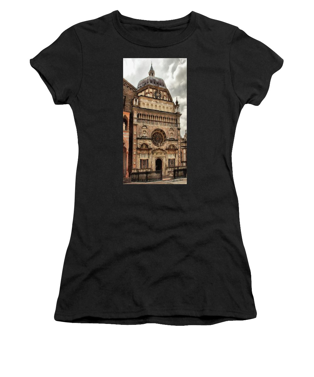 Chapel Women's T-Shirt (Athletic Fit) featuring the painting Colleoni Chapel by Jeffrey Kolker