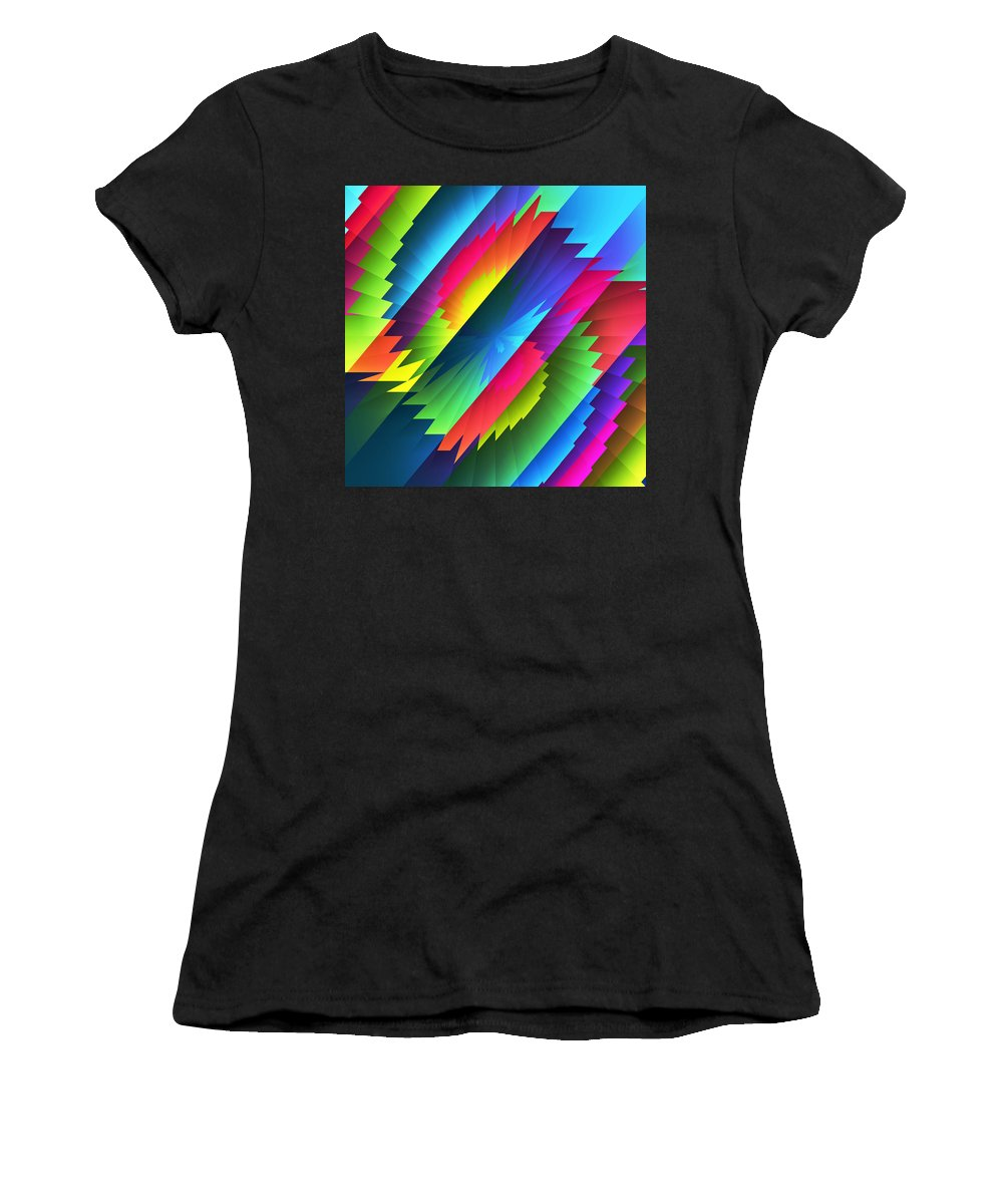 Contemporary Abstract Wall Art Women's T-Shirt (Athletic Fit) featuring the digital art Color Blast by Kathleen Sartoris
