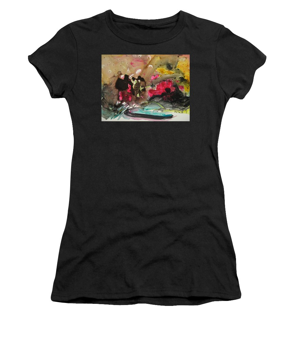 Abstract Paintings Women's T-Shirt (Athletic Fit) featuring the painting Color Fever 140 by Seon-Jeong Kim
