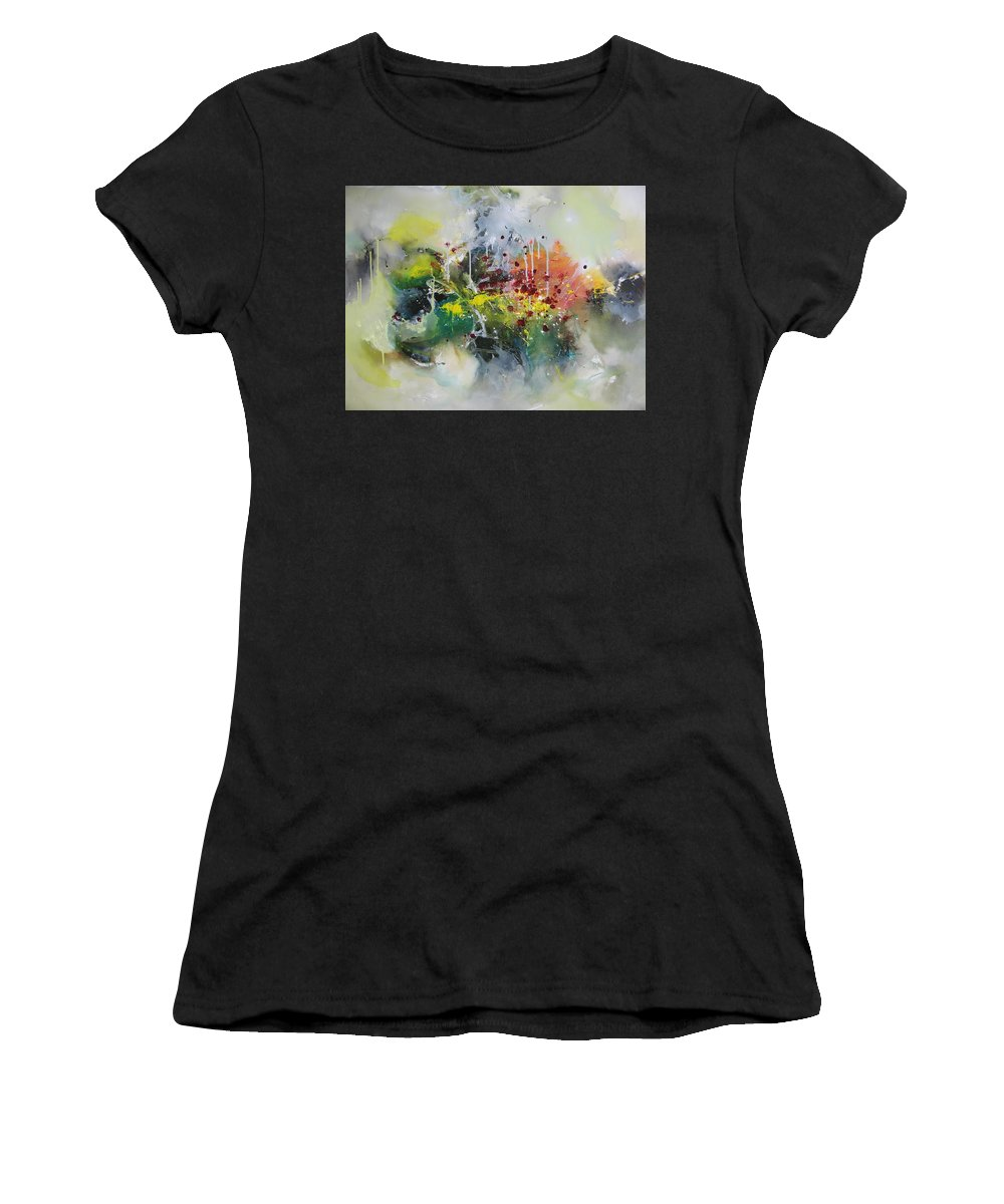 Yellow Paintings Women's T-Shirt (Athletic Fit) featuring the painting Color Fever Large 16 by Seon-Jeong Kim