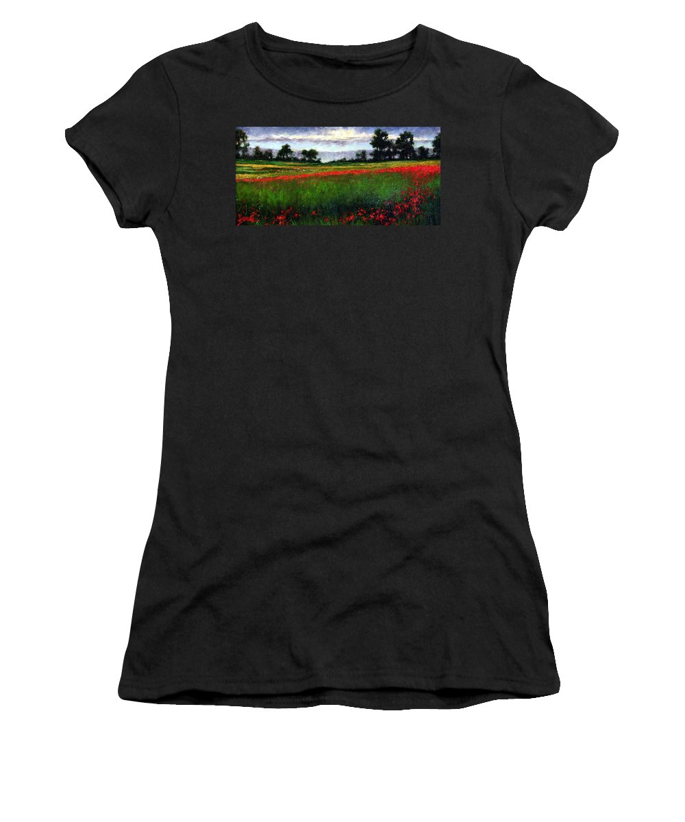 Landscape Women's T-Shirt (Athletic Fit) featuring the painting Colorburst by Jim Gola