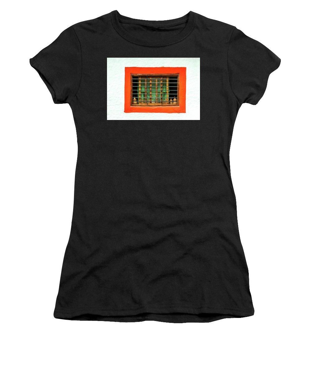 Landscape Women's T-Shirt featuring the pyrography Colorful Bared Window by Javier Flores