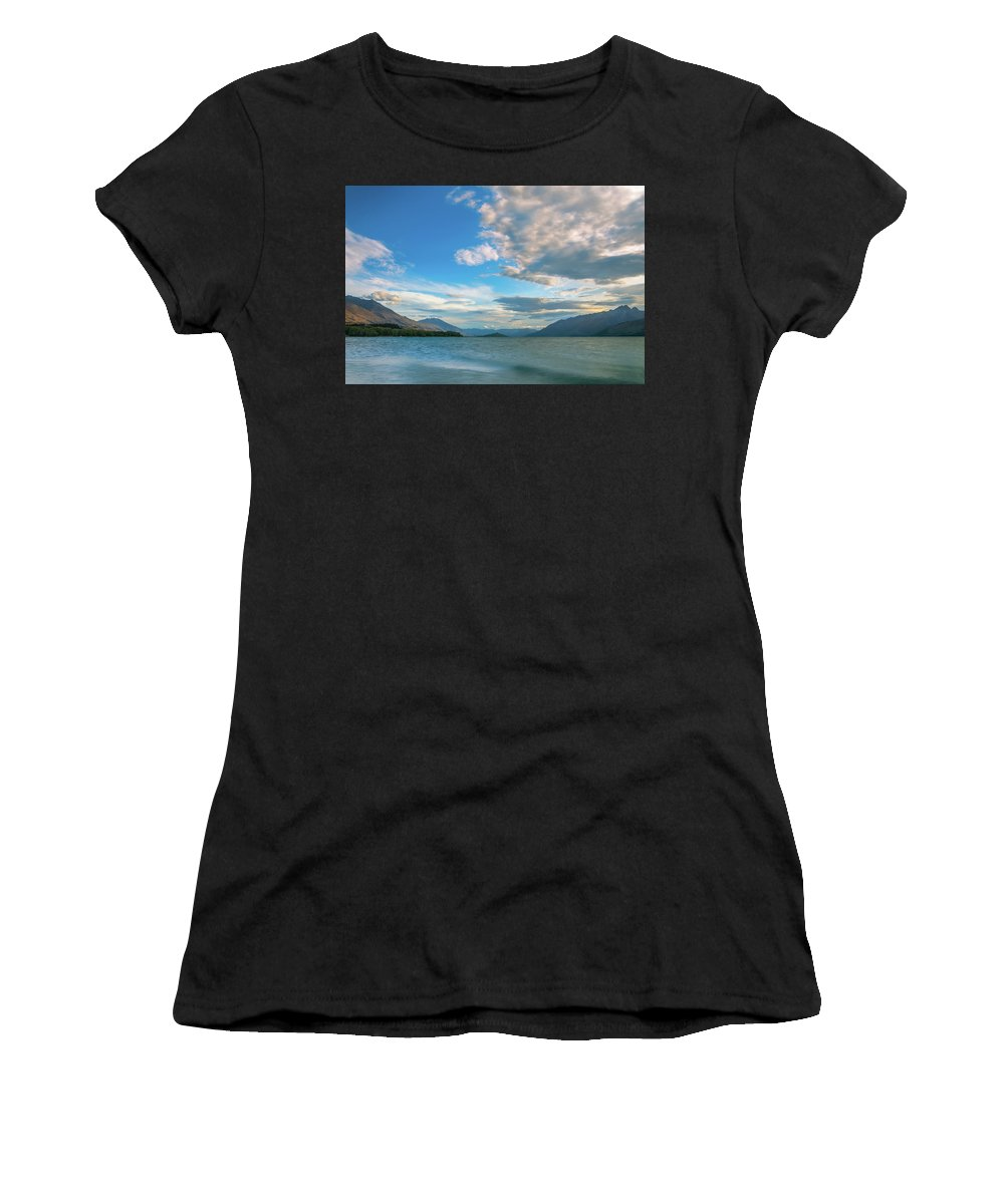 Colorful Women's T-Shirt featuring the photograph Colorful Clouds At Golden Hour On Lake Wakatipu At Glenorchy, Nz by Daniela Constantinescu